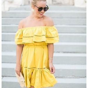 Chicwish off shoulder mustard dress